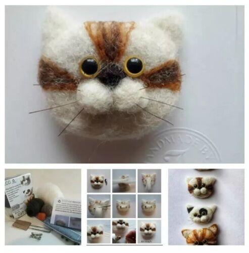 Needle felting Cat kit Cat Brooch Gift DIY