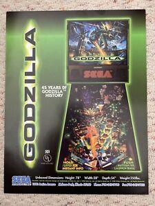 Sega Godzilla Super Rare Pinball Flyer brochure pamphlet 1998