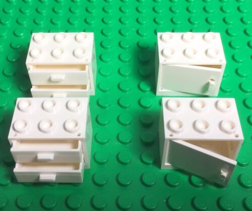 Lego X4 New White Cupboard Container W// Drawers Doors Kitchen Garage Cabinet