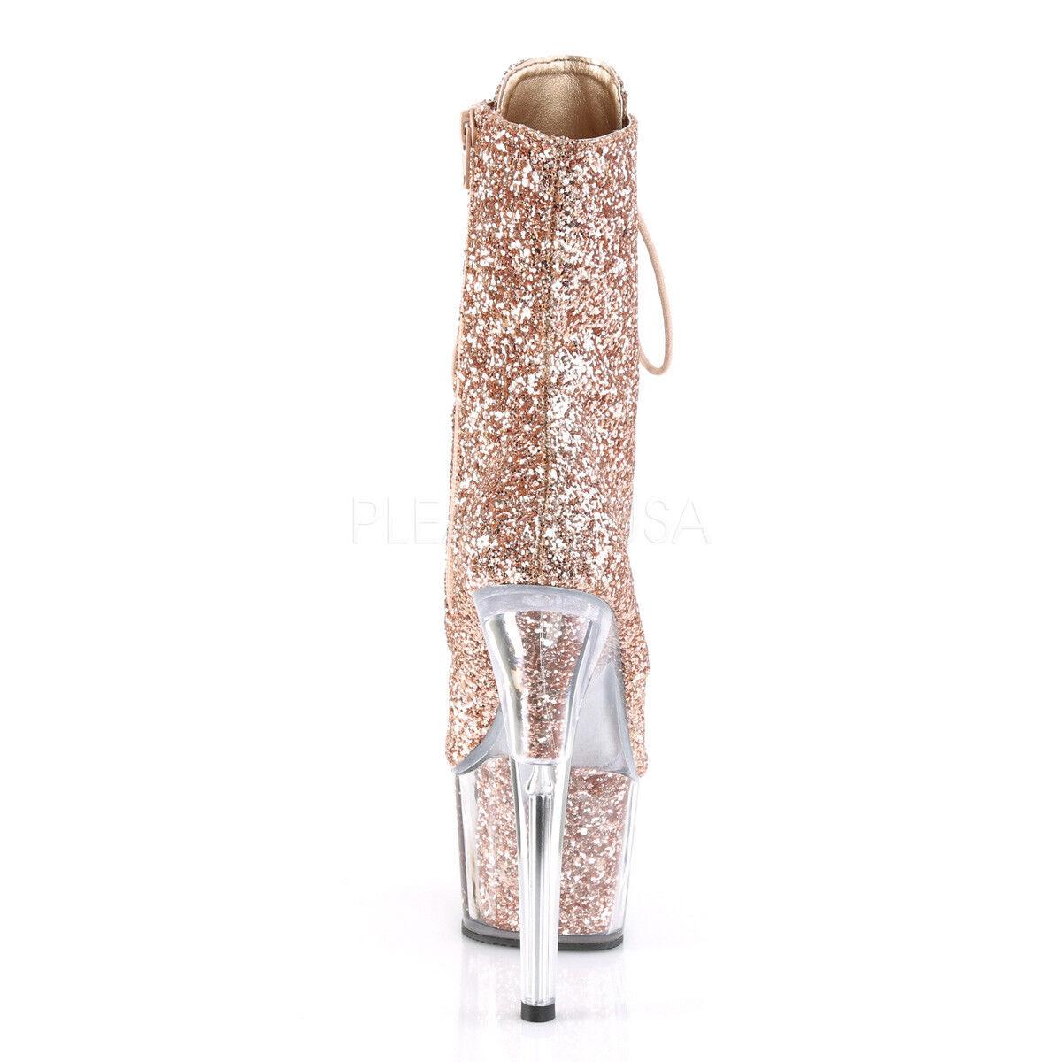 PLEASER Sexy ADORE-1020G 7  Heel Platform Rosa Rosa Rosa Gold Glitter damen Ankle Stiefel 16e3b1