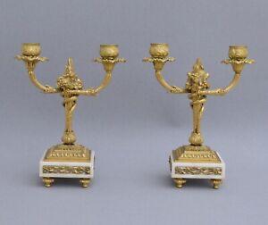Paire-de-candelabres-a-deux-branches-en-marbre-blanc-et-bronze-dore-19eme