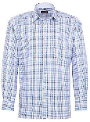 ETERNA Herren Business Langarm Hemd Comfort Fit blau Kariert Patch 8174.15.E76P