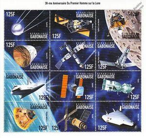 APOLLO-XI-Moon-Landing-Satellites-Shuttle-Sputnik-Space-Stamp-Sheet-1999-Gabon