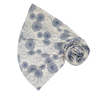 Stunning White with Blue Embroided  Flowers Large Scarf