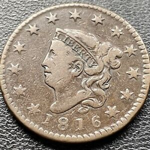 1816-Large-Cent-Coronet-Head-One-Cent-1c-Higher-Grade-VF-XF-22629