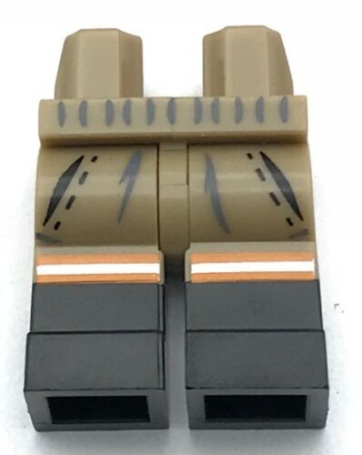 Lego New Dark Tan Hips and Legs with 2 Pockets Silver and Orange Stripes Pants