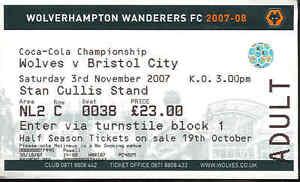 Football-Ticket-Stub-Wolves-v-Bristol-City-Championship-2007