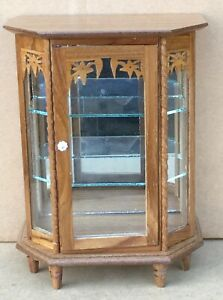 Dolls House Mahogany Mirrored China Display Cabinet Living Dining Room Furniture