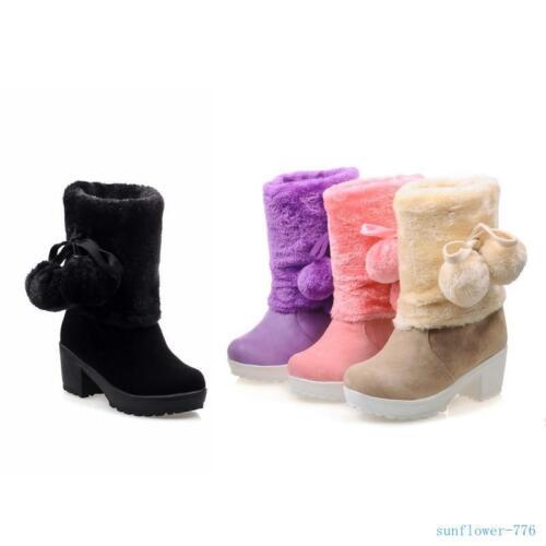 Hiver Femme Bottes Mi-Mollet Pom Pom Chaton Talon fourrure fourrure à enfiler neige Chaussures
