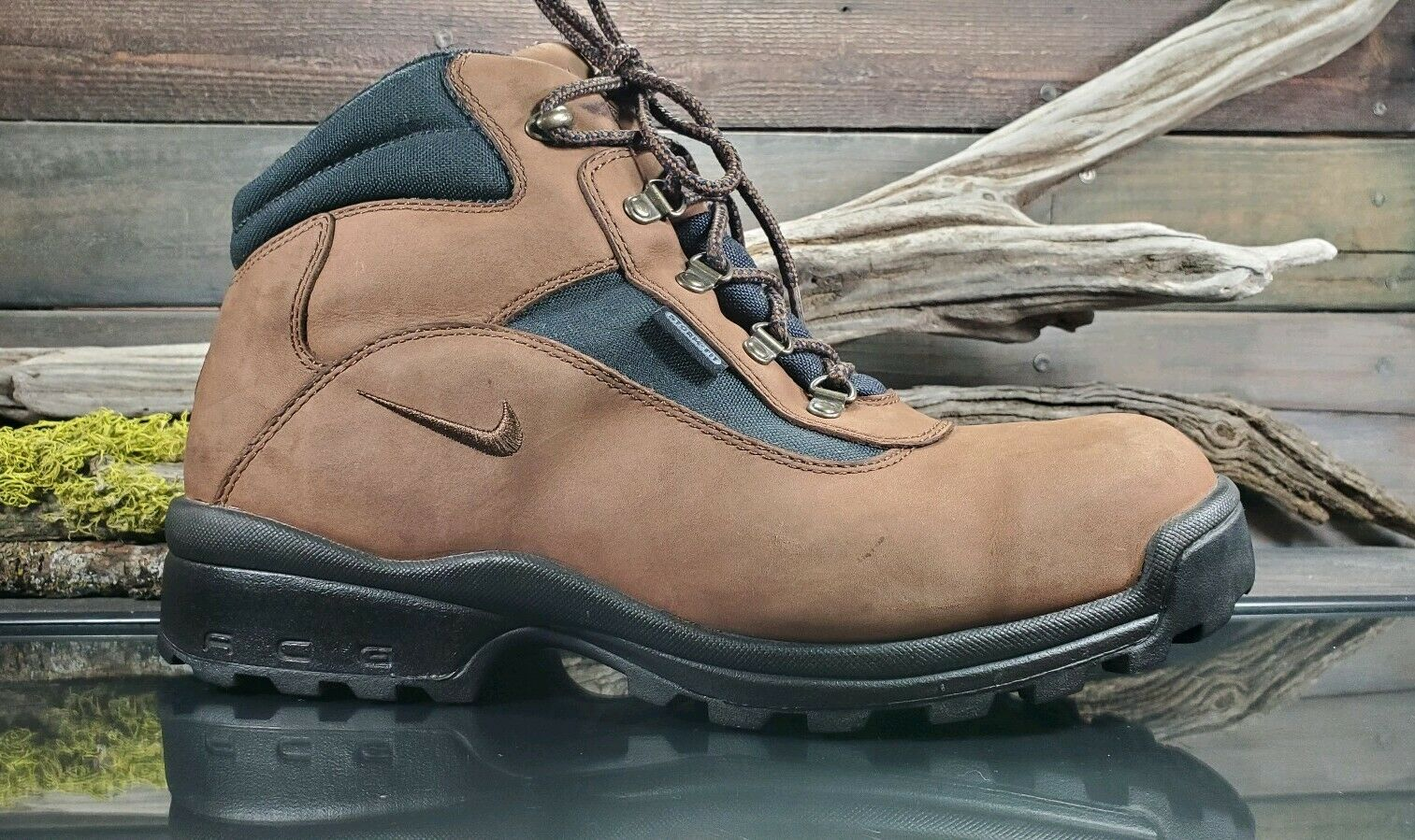 VTG Nike ACG Mens Sz 12 US Waterproof All Trac Hiking Trail  Brown Leather Boots