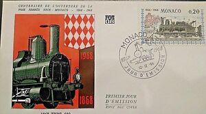 MONACO-Stamp-1-Jour-FDC-n-752-Liaison-Nice-Monaco-1968