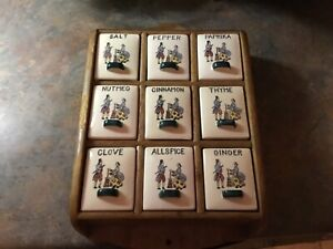 Mid-Century-Modern-Ceramic-Spice-Rack-Hanging-9-Boxes-Colonial-Couple