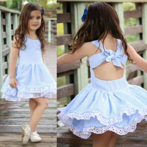 Summer Kids Baby Girls Pageant Princess Sleeveless Stripe Lace Dress Clothes AA