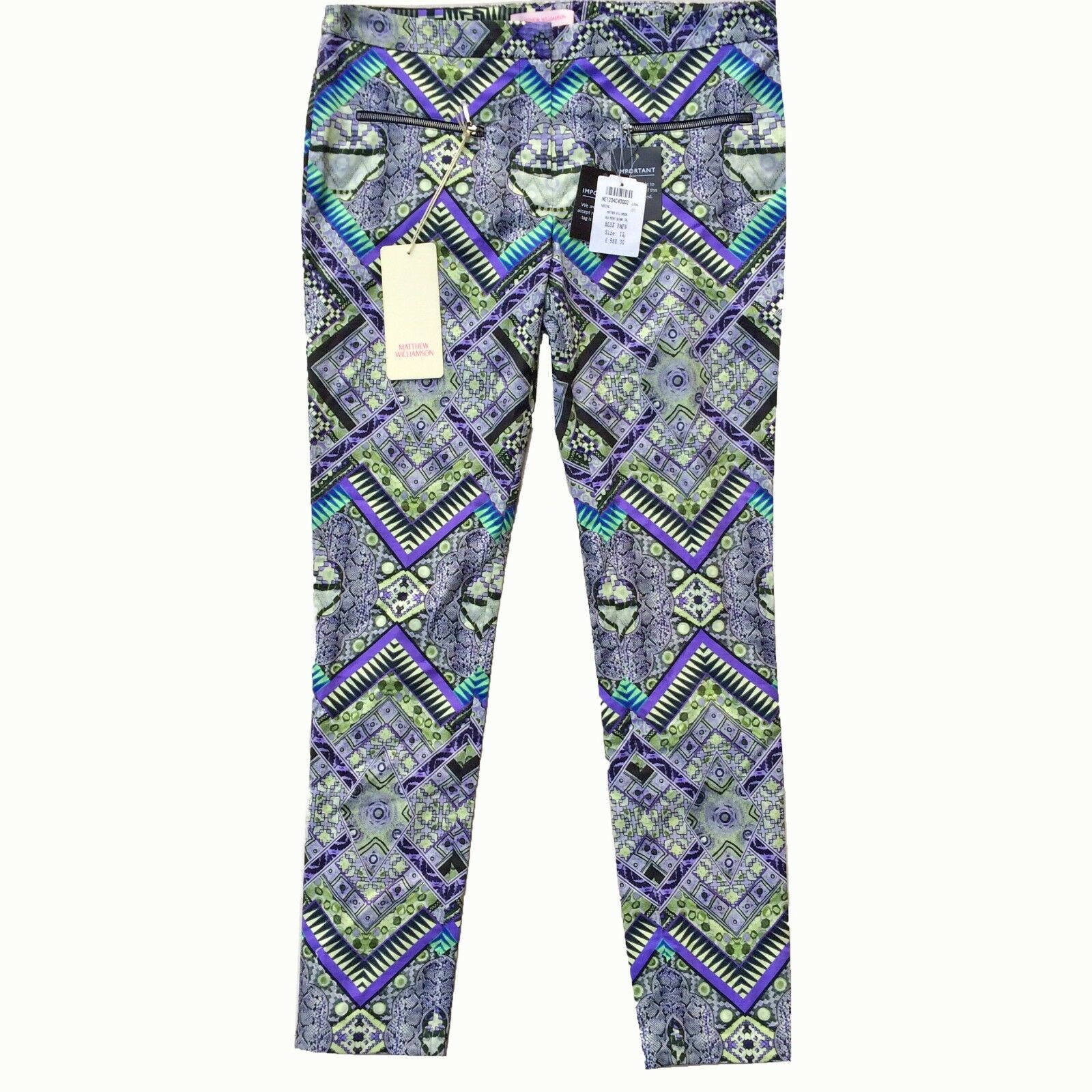 Matthew Williamson Mainline Raj Print Skinny Trousers Size 12