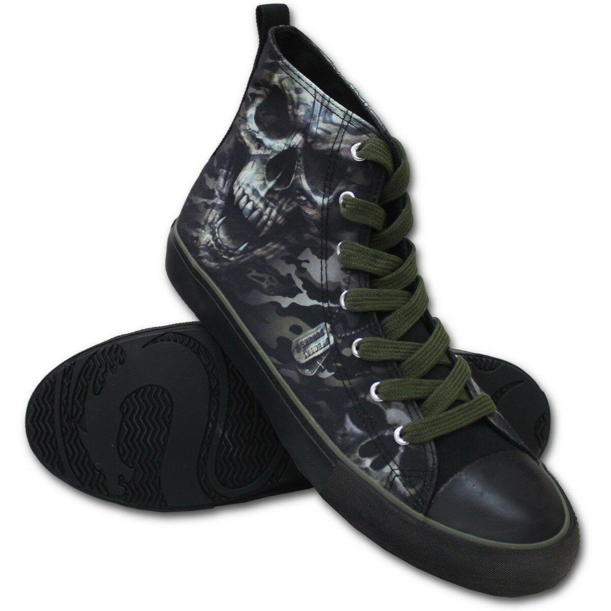 Spiral Direct CAMO-SKULL -  - Uomo High Top Army/Shoes/Camouflage/Death