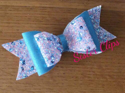 """Le Ragazze FATTO a MANO Blu e Blu Rosa Paillettes Glitter Mix CLIP CAPELLI FIOCCO 4/"""""""