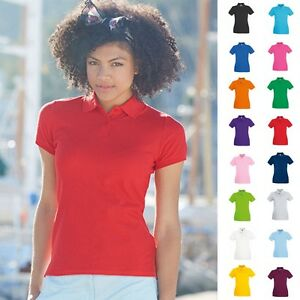 Fruit-of-the-loom-Damen-Poloshirt-Premium-Lady-Fit-Frauen-Polo-Shirt-Baumwolle