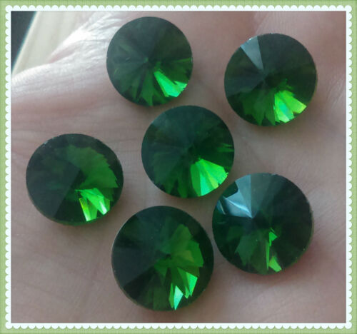 6pcs 14mm  Rivoli chaton crystal glass fancy stone cabochons GREEN