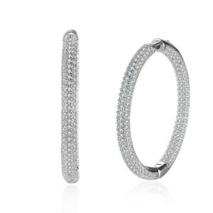 CLASSIC-18kt-White-Gold-Plated-OUTSIDE-INSIDE-Swarovski-Crystals-Hoop-Earrings