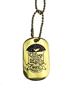 Phi Beta Sigma Fraternity Gold Dog Tag Necklace with Crest Greek