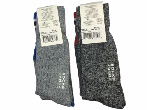 Funky Socks Womens 4 Pairs Grey Marled Striped Top Green Blue Red Lime NEW