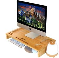 Table Desk Organizer Office Bamboo Monitor Stand Riser Storage Container Slots