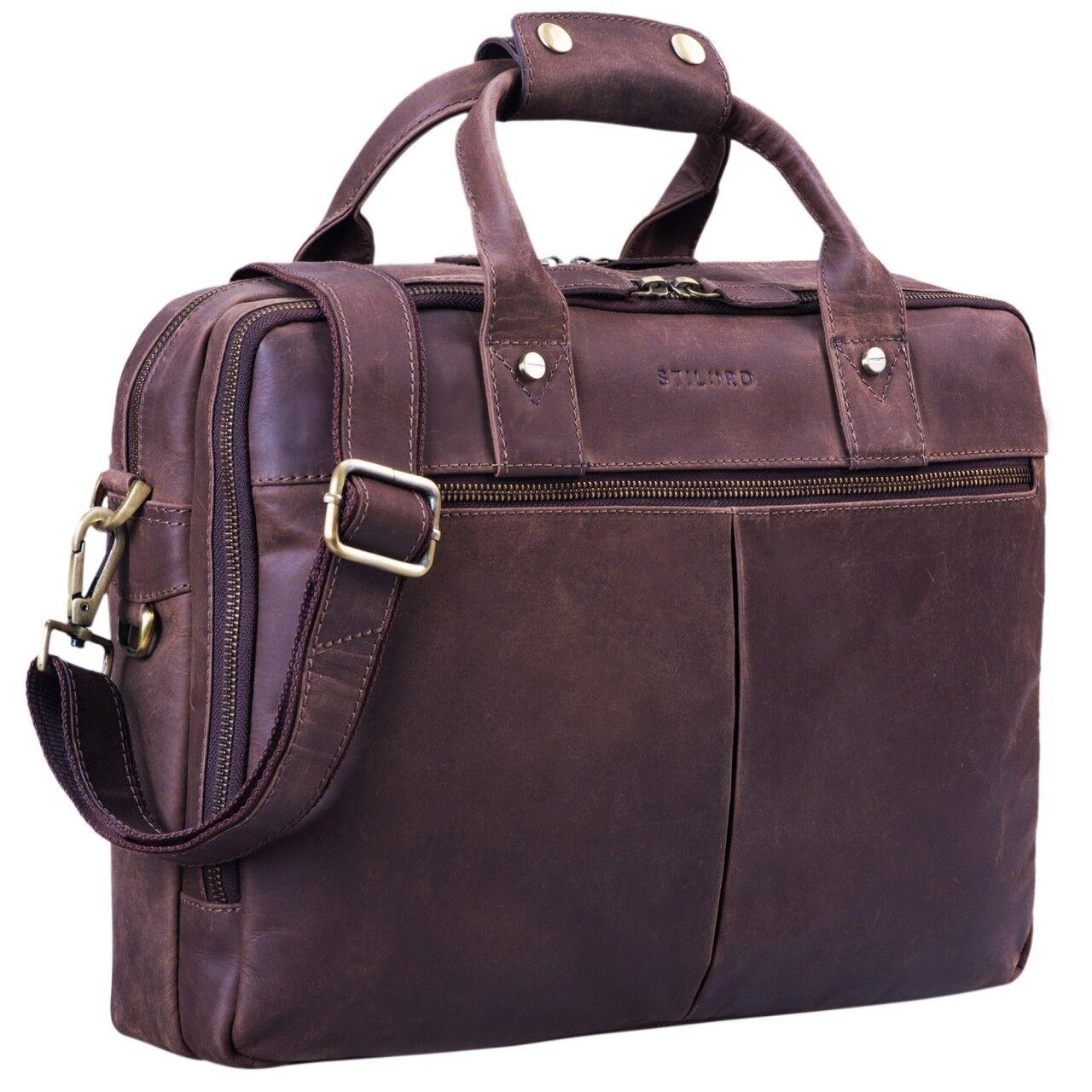 STILORD    Enzo  Vintage Aktentasche elegant groß Businesstasche XL 15,6  Leder | Offizielle  22840e