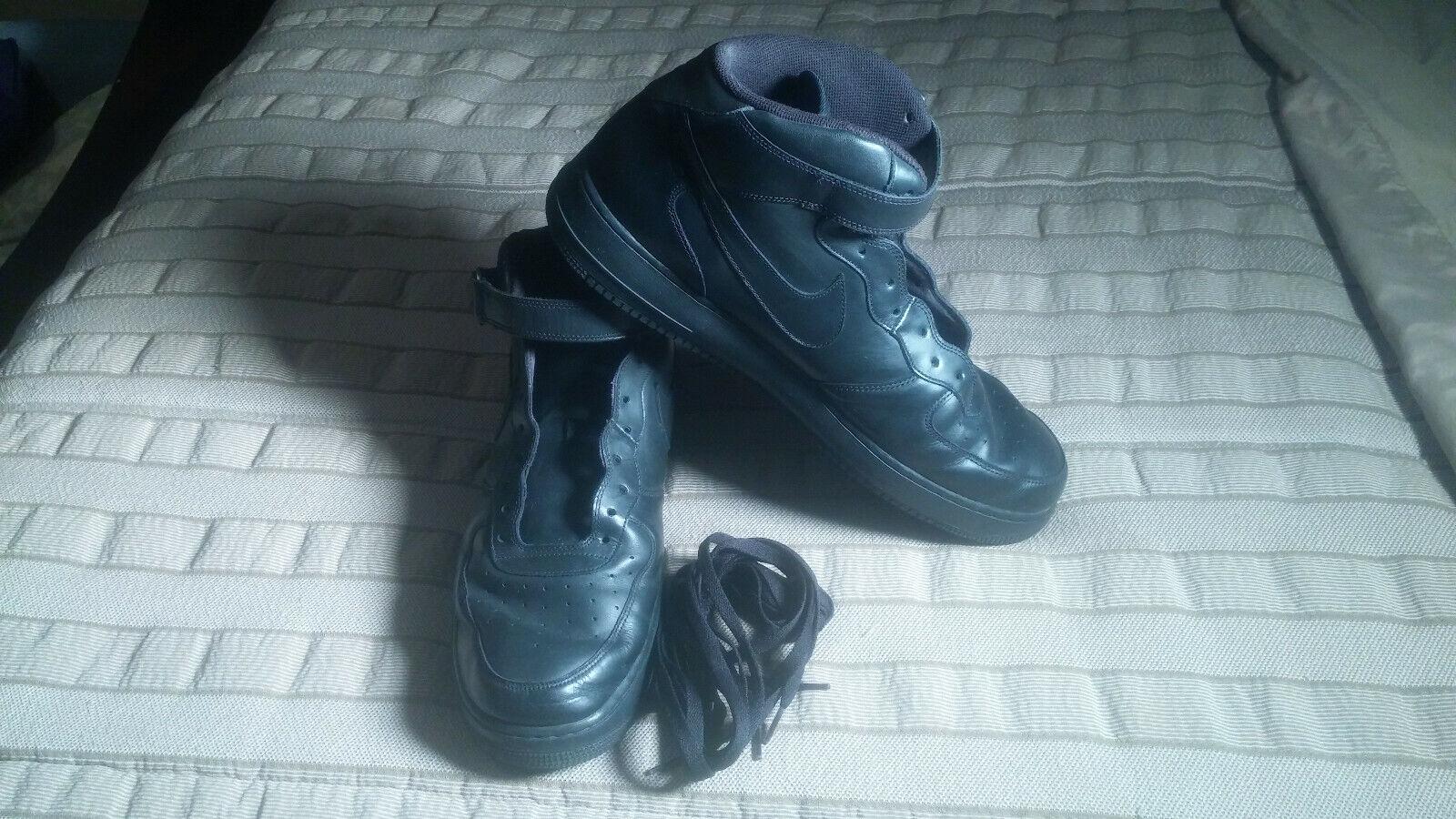 Nike AF1 Air Force Ones 1's Hightop Black Black US Size 17 EUC