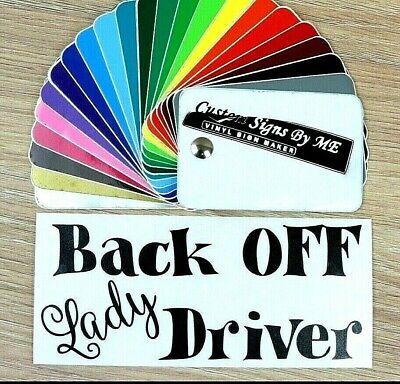Back Off Lady Driver Tailgating Auto Adesivo Vinyl Decal Adesivo Paraurti Finestra-mostra Il Titolo Originale Per Godere Di Alta Reputazione Nel Mercato Internazionale