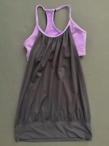 76300fb01287df LULULEMON sz 6 Purple Gray ~ No Limits ~ TANK TOP with Built-in Bra ...