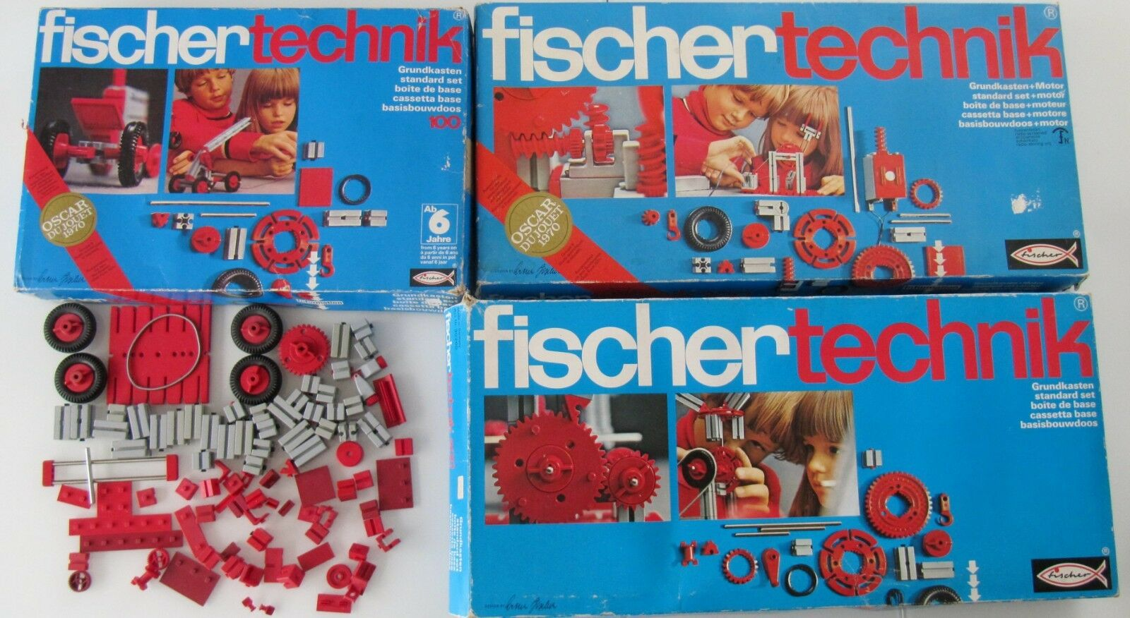 Set gigante  Fischertechnik motivo recuadro 100 + 200 + 300 con motor + herramientas