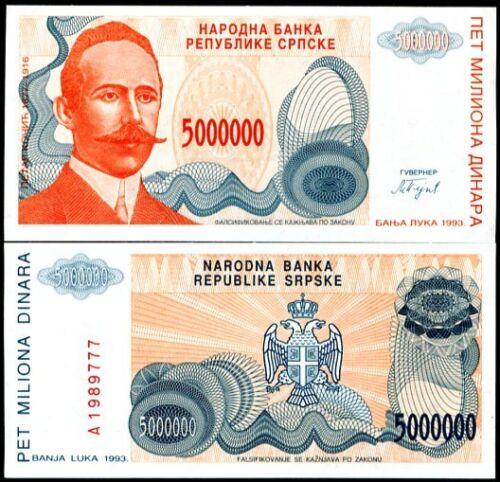 BOSNIA HERZEGOVINA 5000000 5,000,000 DINAR 1993 UNC 2 PCS CONSECUTIVE PAIR P.153