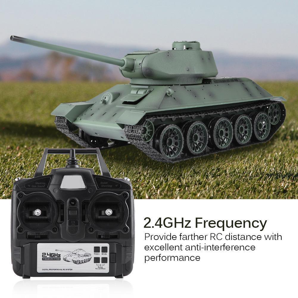 Henglong 3909-1 116 T-34 2.4G tanque de control remoto de movimiento y sonido de simulación de alto