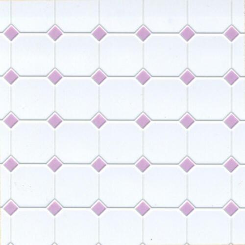 Puppenhaus Lila Weiß Geformter Kunststoff Fliese Bodenbelag Blatt Mini 1:12 Maß