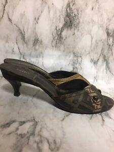 FENDI-Size-37-5-US-7-Brown-And-Tan-Classic-Logo-Kitten-Heel-Peep-Toe-Pumps