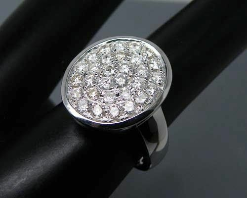 18ct White gold Natural Diamond Signet Ring Beauty