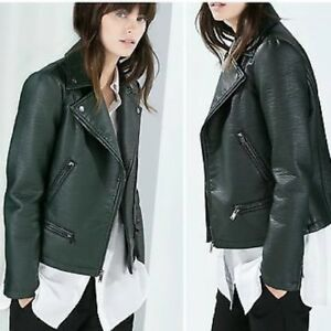 2cd2f8ee1 Details about NWTs ZARA Woman Basic Green Khaki Moto Motorcycle Biker  Jacket XS