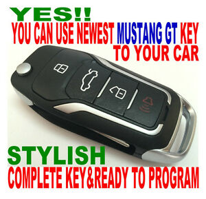 New Gt Style Flip Key Remote For 2011 14 Ford Mustang Clicker Chip