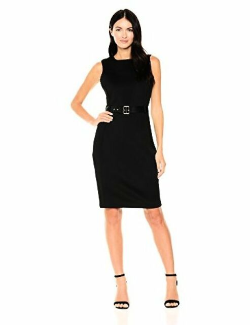 2c60c393eb450 Calvin Klein Black Sleeveless Belted Scuba Sheath Dress 6 for sale ...