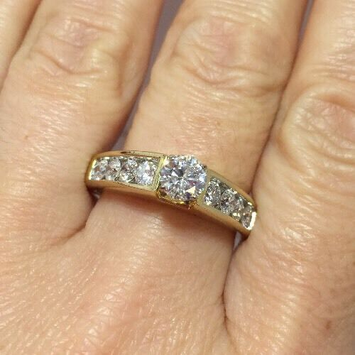 GIA  3400 14k Yellow gold 1.42 Ct Diamond Wedding Solitaire Engagement Ring 11