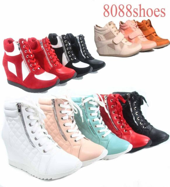 Women's High Top Lace Up Wedge Fashion Sneaker Ankle Shoes NEW Size 5.5 - 10