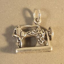 .925 Sterling Silver 3-D ANTIQUE STYLE SEWING MACHINE CHARM Pendant 925 HB17