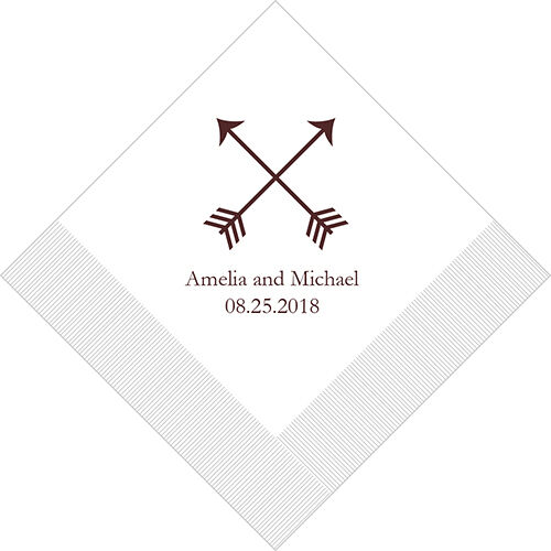300 Double Arrows Personalized Wedding Luncheon Napkins