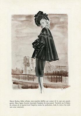 """""""marcel Rochas"""" Annonce Originale Entoilée Formes & Couleurs delfau 1943 Compra Ahora"""