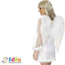 WHITE FEATHERED ANGEL WINGS - 50cm x 60cm - ladies xmas fancy dress costume