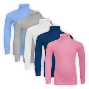 Girls-Cotton-Classic-Plain-Top-Turtle-High-Roll-Neck-Children-Sweatshirt-Jumper