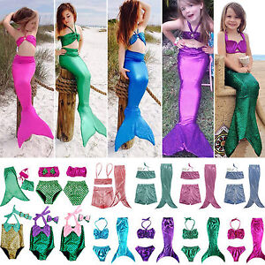 Kid Girl Mermaid Tail Bikini Swimwear Swimming Costume Sets Swimsuit
