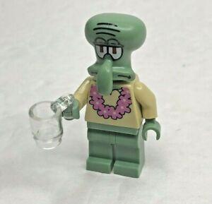 LEGO Spongebob Squarepants Squidward Minifigure w// Pink Lei
