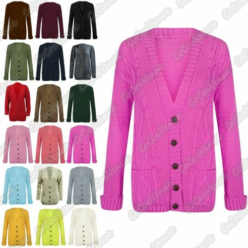 Girls Kids Long Sleeve Cable Knitted Grandad Button Cardigan Sweater 5-13 Yrs