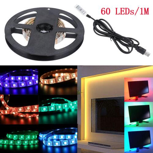 5V 5050 RGB LED Strip Light Colour Changing USB TV PC Back Mood Bar Lighting